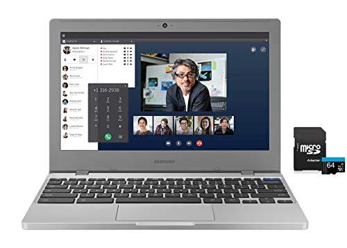 2020 Newest Samsung Chromebook 11.6' HD Laptop, Intel Celeron N4000 Processor, 4GB RAM, 32GB eMMC, Webcam, Online Class, Bluetooth, WiFi, Chrome OS , Platinum Titan, KKE 64GB MicroSD Card Bundle
