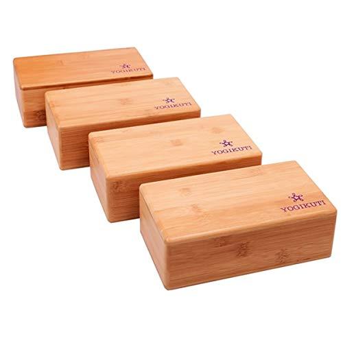 Yogikuti Juego de 4 bloques de bambú para yoga