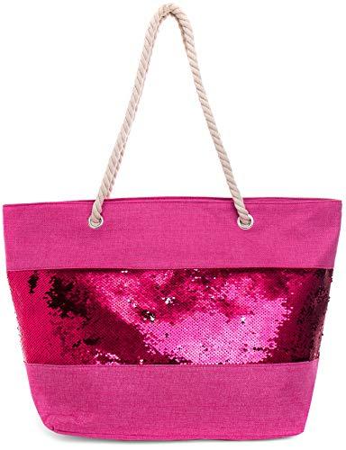 Faera Pailletten Strandtasche in sommerlichen Farben XXL Shopper Beach Bag mit breiter Kordel Schultertasche, Taschen Farbe:Pink