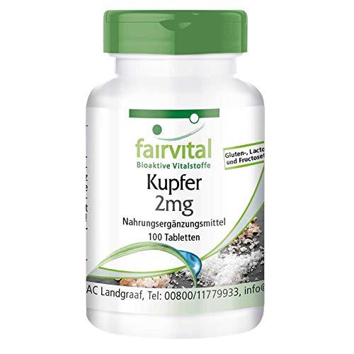 Kupfer Tabletten 2mg - HOCHDOSIERT - Nahrungsergänzungsmittel aus Kupferbisglycinat - Vegan - 100 Tabletten