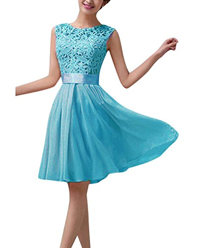 ZANZEA Damen Spitze Ärmellos Party Club Kurz Slim Abend Brautkleid Cocktail Ballkleid Blau EU 40/US...