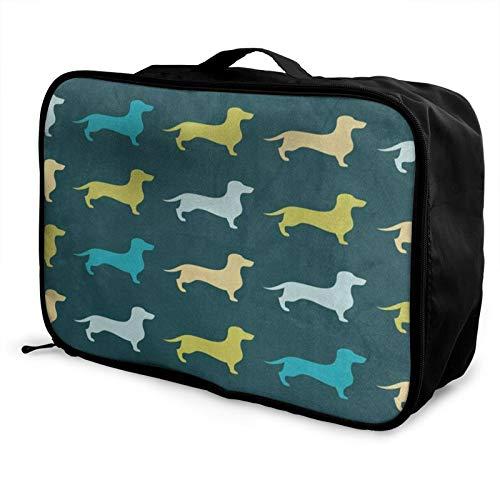 Cute Dachshund Dog (2) Women Storage Bag Overnight Carry-On Tote Duffel In Trolley Handle Men