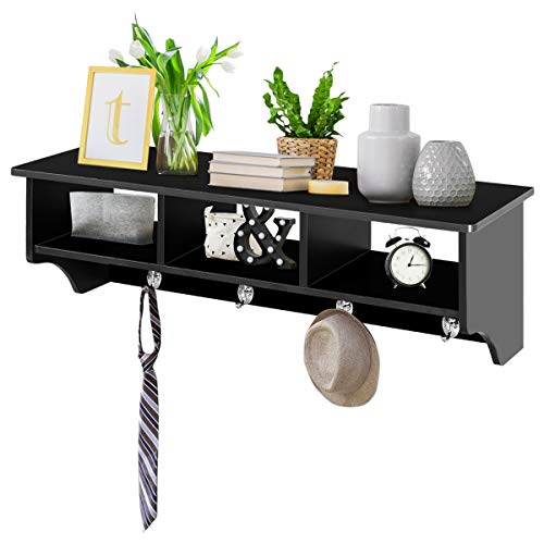 Giantex Hanging Shelf with Hooks Wall Mount Cubby Organizer with 4 Dual Hooks and Storage for Entryway, Hallway, Diningroom Furniture (Black)