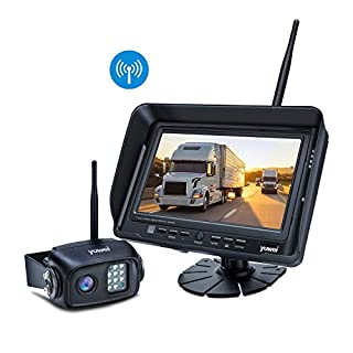 5th Wheel Niloghap IP69 Waterproof Rear View Camera and 7/″ Split//Quad Screen DVR Monitor Trucks HD Digital Wireless Backup Camera Kit Bus High-Speed Observation System for Trailers Motorhomes