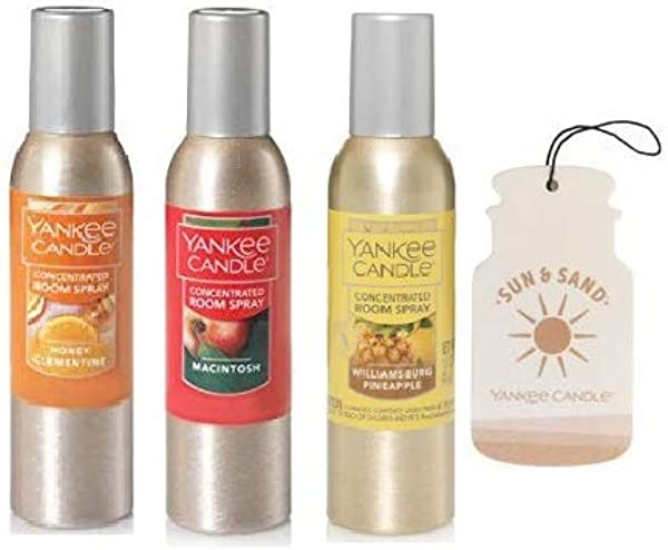 Yankee Candle Honey Clementine Macintosh And Williamsburg Pineapple Concentrated Room Spray 1 5 Oz Paperboard Car Jar Fragrance Sun Sand