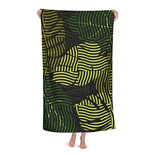 Toalla de playa de microfibra ondulada tropical con hojas verdes, secado rápido, súper absorbente, toalla de baño, manta para ducha, camping, playa, 80 x 130 cm
