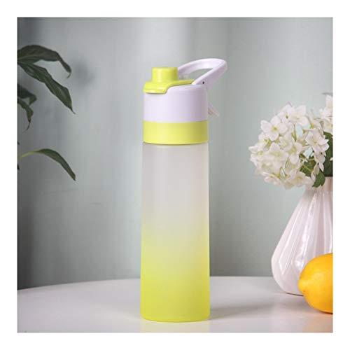 LMG Botella de agua con aerosol, sin BPA, botella de 650 ml, a prueba de fugas, botella deportiva para gimnasio, escalada, senderismo al aire libre (color: amarillo, tamaño: 650 ml)