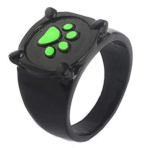 WINBST Miraculous Ladybug Anillo Cat Noir Anillos Anime Cosplay Negro Gato Verde Paw Print Anillo para Mujer y Chica Souvenir Bonito regalo