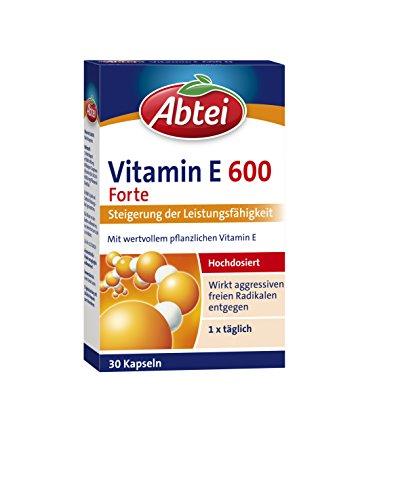 Abtei Vitamin E 600 Forte – hochdosiertes Arzneimittel zur Steigerung der Leistungsfähigkeit – mit wertvollem pflanzlichem Vitamin E – 1 x 30 Weichkapseln