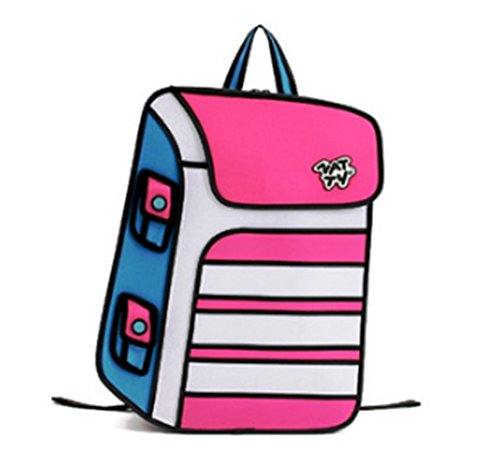 3D-Jump-Art Rucksack, Schultasche mit Animation / Zeichentrick -Effekt, Rucksack / Rucksack mit Comic-Effekt (ROSA-WEISS)