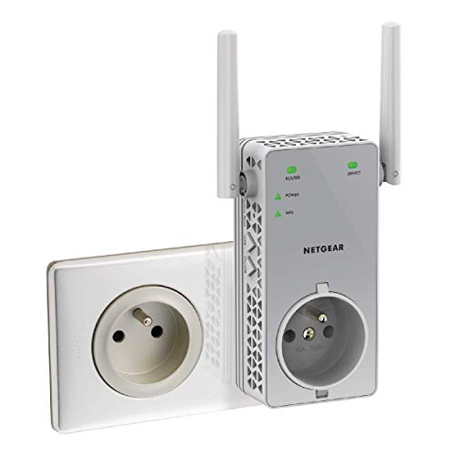 NETGEAR Répéteur WiFi (EX3800), Amplificateur WiFi AC750, WiFi Booster, jusqu'à 70m² et 15 appareils, Transformez les Zones Mortes en Zones Couvertes, Prise de Courant Intégrée, compatible toutes Box