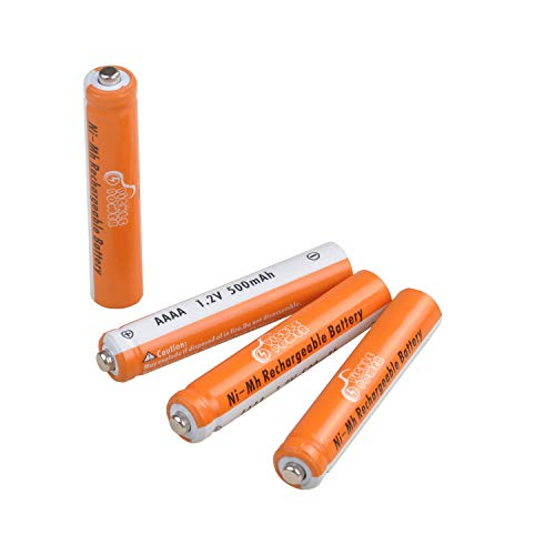 AAAA Batteries, Pickle Power Rechargeable AAAA Batteries for Surface Pen, Rechargeable AAAA Battery for Active Stylus, Ni-MH 1.2V 500mAh with Storage Box, 4 Counts
