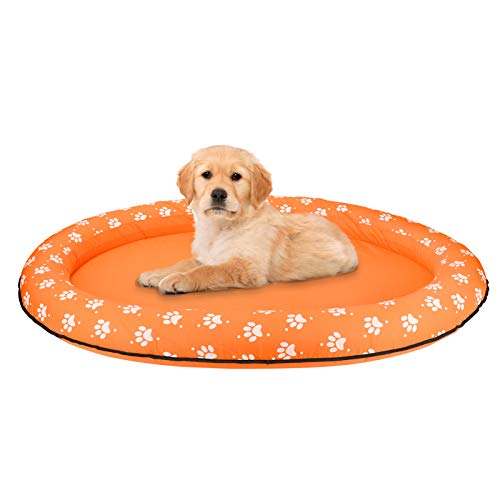 Mystery Dog Floats for Pool Large, Dog Float Inflatable Pool, Oxford Cloth Dog Pool Floats for Small Large Dogs, Summer Pet Inflatable Float for Adult Dogs Puppies Cat, Dog Swimming Pool Float, Orange