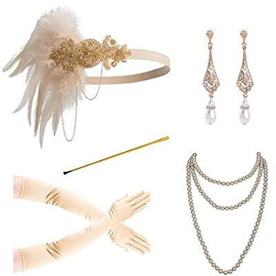 Zivyes 1920s Accessories for Women 1920s Headpiece Flapper Gloves Cigarette Holder Pearl Necklace (100D)