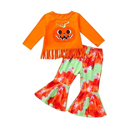 YLYL Costume D'Halloween Pour Enfants Girls Halloween Pumpkin Print Pantalon éVasé à Manches Longues Ensemble De VêTements DéGuisement SorcièRe Citrouille Costumes D'Halloween Pour Filles(Orange)