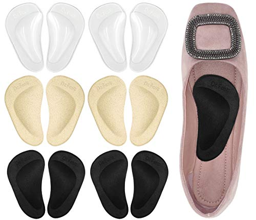 Dr. Foot s Gel Arch Support Cushions for Flat Feet  Shoe Insoles for Flat Feet  Reusable Arch Inserts for Plantar Fasciitis  Arch Support Shoe Inserts for Men & Women (3 Colors - 6 Pairs)