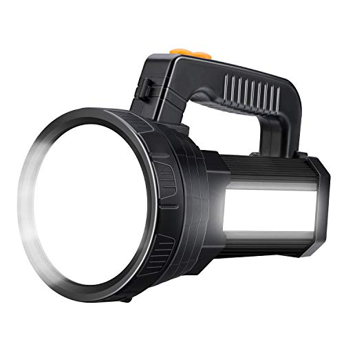 Beteray Rechargeable Spotlight,Super Bright 6000 Lumens High Lumens LED flashlight,6 Light Modes Lightweight Lantern Spotlight Searchlight and Flood Camping Flashlight (Black)
