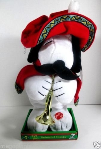 Snoopy Animated Mexican Musical Christmas Plush with Trumpet, Gyrates and Plays Feliz Navidad by Gemmy