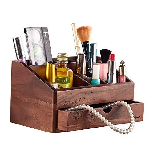 LZZB Mostrador Organizador de Maquillaje de Madera Retro, cajones y Almacenamiento Organizador de Maquillaje, tocador, lápiz Labial cosmético, joyería, Caja organizadora de cosméticos (Color: A)