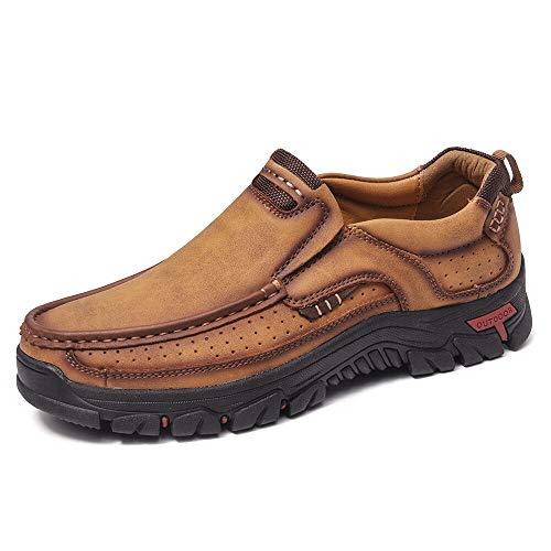 Leder Schuhe Zum Herren Slipper Beiläufig Stilvoll Combo Atmungsaktiv Low-Top Draussen Werkzeug Schuhe rutschfest Wandern Arbeiten Schuhe Braun Größe 44