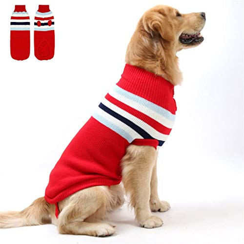 ZPP Suéter para mascotas, chaleco a rayas, para invierno, cuello alto, cálido,...
