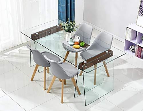 HABITMOBEL Mesa de Comedor Madera, Cristal Templado, 200x90 cms