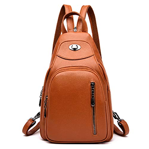 LOVE LABINI Anti-theft Daypack Chest Bag Women Backpack Shoulders Bags Ladies Rucksack PU Small Bags Yellow
