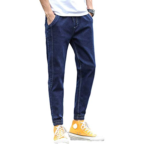 Beastle Pantalones Vaqueros para Hombre Primavera y otoño Nuevos Pantalones Vaqueros Sueltos Moda Casual Moda Ajustable Tobillo Harem 34