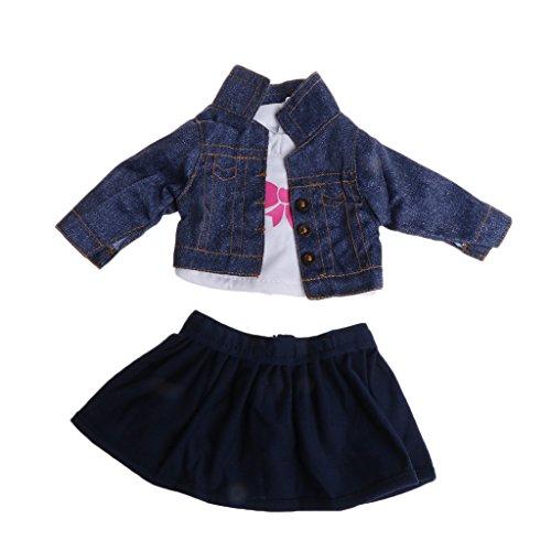 Cuigu 3Pcs Coat + Shirt + Skirt Anzug, für 18 '' American Girl Puppe Kleidung Mode Outfit (Blau & Weiß)