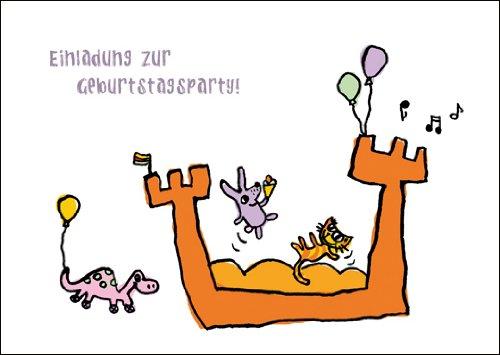 Ann Cathrin Raab Im 5er Set: Einladungskarte zum Kindergeburtstag mit Katze, Maus und Dino auf der Hüpfburg: Einladung zur Geburtstagsparty!