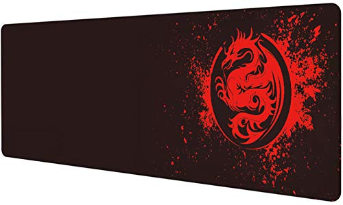 Extended Mouse Pad Anime Dragon Large Gaming Mouse Pad- 31.5x12inch Computer Keyboard Mouse Mat Mousepad Rubber Base and Stitched Edges for Game Players (Red)
