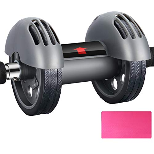 Wgwioo Abdominal Exercise Roller with Knee Mat Body Fitness Strength Training Machine for Men and Women,Black,1PCS