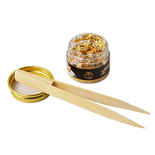 24K Edible Gold Flakes,35mg Genuine Gold Flakes for Cake,Drink and Chocolate Decoration,SPA,1 Wooden Tweezers as Gifts