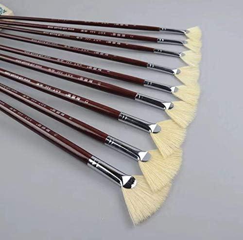 XDT 646 Fan Paint Brush Artist Painting Brushes Set 9 Piece Hog Bristle 0 2 4 6 8 10 12 14 16 product image