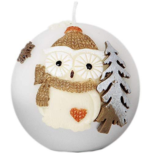 Adpal Kerzenmanufaktur Kugelkerze Weihnachtskerze 8 cm Eulenmotiv Mütze Silber weiß Weihnachten Kerze