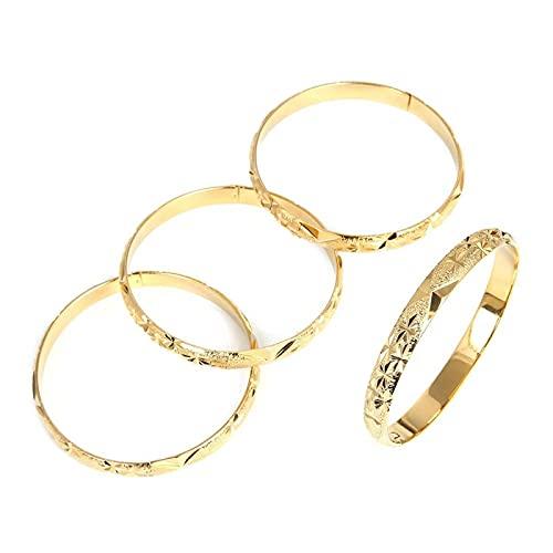 YITIANTIAN 4 Piezas Dubai Fasion brazaletes para Mujeres Hombres Pulseras Anchas de Color Dorado brazaletes de joyería de Etiopía Africana
