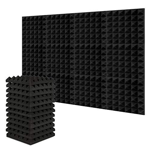 Akustikschaum, AGPtEK 12er Pack 30,5 * 30,5 * 5 Zentimeter Schalldämmende Schaumstoff Panele, Schallisolierende Studio Schaumstoff Polsterplatten mit Dreieck Struktur, Ideal für Hause, Studio und Büro