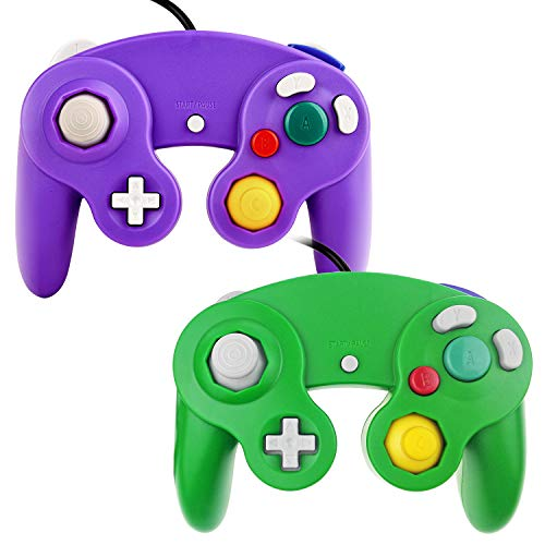 TechKen Gamecube Controller Joystick für Wii Wired Game Controller Joypad Dual Vibration NGC Gamepad Game Cube Original Controller Gamecube Spiele für GC (Purple&Green)