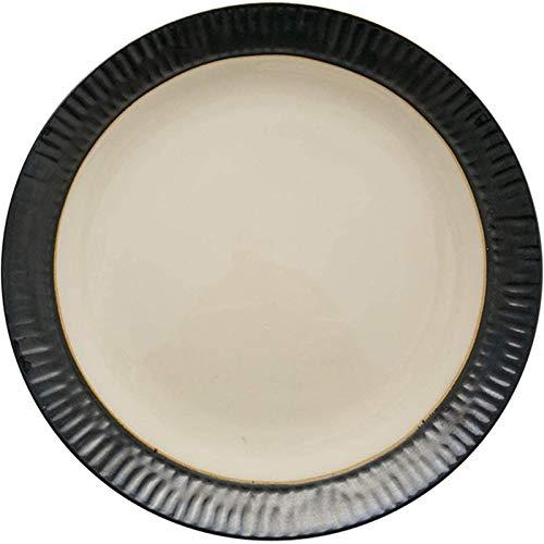 TREEECFCST Platos Vajilla Metálica vidriada Plana Plato de Porcelana Simple Filete Inicio Mariscos la Plata Crema de Color de 8 Pulgadas