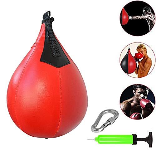 APJJ Geschwindigkeitsball Kunstleder Doppelendball Boxen Drehkugellagerung Stanzen Dodge Boxbirne Set Drehwirbel Punchingbälle Swivel Workout Speedball,Rot