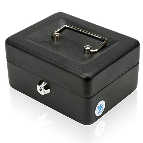 H&S Geldkassette aus Stahl (15 cm), Safe mit Schloss und 2 Schlüsseln in Schwarz
