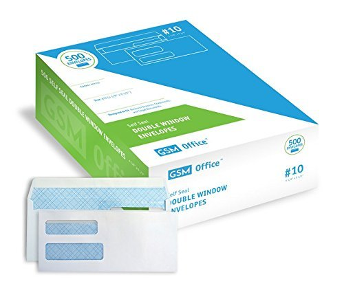 Self Seal Double Window Security Envelopes (#10 - Box of 500), for Invoices, Statements and Legal Documents (4 1/8 x 9 1/2)