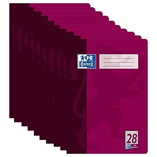 Oxford Schulheft A4 kariert mit Rand rechts und links, Lineatur 28, 32 Blatt, hochwertiges 90 g/m² Papier, violett, 10er Pack