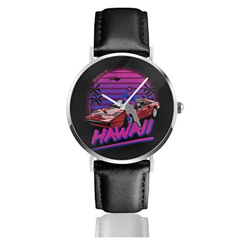 Unisex Business Casual Magnum PI Welcome to Hawaii Uhren Quarzuhr Lederarmband schwarz für Männer Frauen junge Kollektion Geschenk