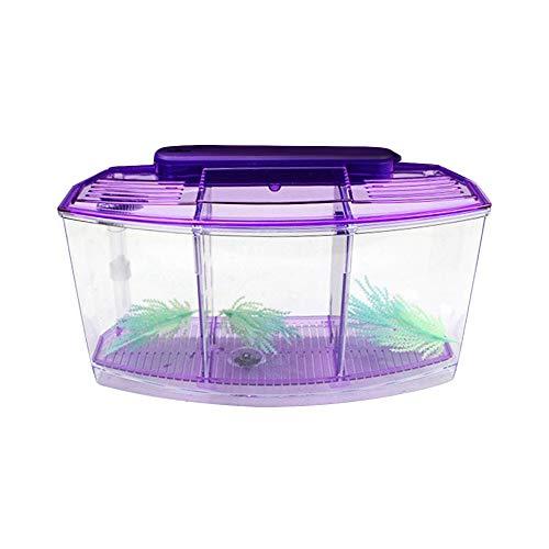 ZZMUK Mini acuario de pecera pequeño, escritorio mini tanque de pescado ecológico rectángulo de incubación de plántulas acuarios caja de aislamiento con filtro divisor de luz LED