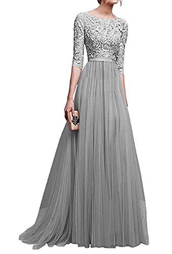 Minetom Donna Chiffon Vestito Lungo Abito da Cerimonia Elegante Vestiti da Matrimonio Lunghi Vestito Formale Banchetto Sera Grigio IT 50