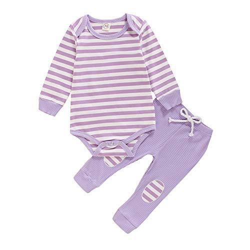 Carolilly Conjunto de 2 piezas de pijama para bebé a rayas de color liso de manga larga + pantalones de algodón para niña violeta 0-6 Meses