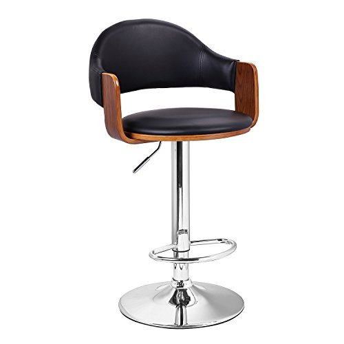 Adeco Extremely Comfy with Extra Padding & Larger Seat! Black Modern Adjustable Swivel Hydraulic bar Stools Low Back Accent Chair, Restaurant & Home, Walnut; Matt Black