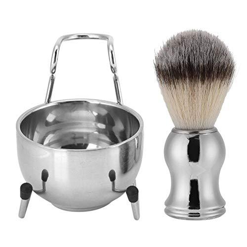 Rostfritt stål rakverktygssats, rakborste + skäggborstehållare + raktvål för skönhetssalong (# 1)