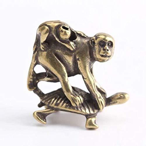 LISAQ Adornos de latn macizo en relieve con diseo de tortuga sobre mono, objetos viejos